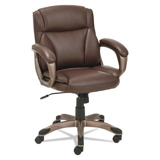 Alera Veon Series Low-Back Leather Task Chair with Coil Spring Cushion Brown
