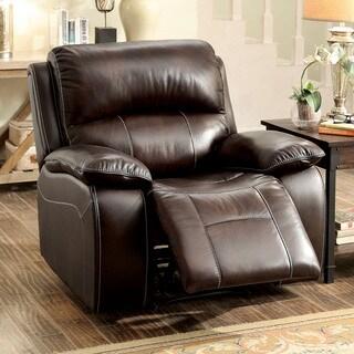 Furniture of America Jerrison Plush Brown Leather Match Rocker Recliner
