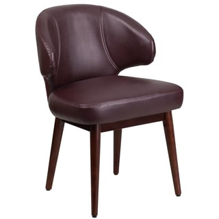 Rosemont Burgundy Leather Curved-back Side Chairs