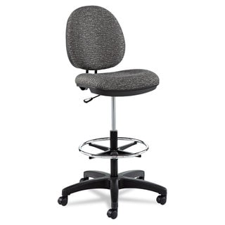 Alera Interval Series Swivel Task Stool Tone-On-Tone Fabric Graphite Grey