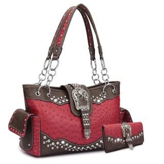 Dasein Western Style Embossed Ostrich Rhinestone Buckle Handbag & Embossed Ostrich Buckle and Rhinestones- Tri-fold Wallet