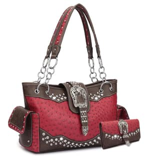 Dasein Western Style Embossed Ostrich Rhinestone Buckle Handbag & Embossed Ostrich Buckle and Rhinestones- Tri-fold Wallet|https://ak1.ostkcdn.com/images/products/13995814/P20619366.jpg?impolicy=medium