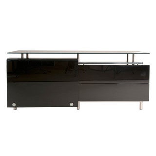 Lorenzo Black Lacquer and Glass Medium Dining Buffet