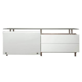 Lorenzo White Glass-topped Medium Dining Buffet