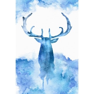 Marmont Hill - Handmade Blue Moose Print on Wrapped Canvas