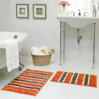 Bathtopia Radella Microfiber Stripe 18 x 30 in. Bath Rug