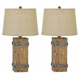 Brockton II Brown Wood Table Lamp (Set of 2)