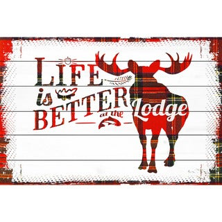 Marmont Hill - Handmade Lodge Life Painting Print on White Wood