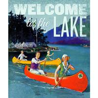 Marmont Hill - 'Welcome Canoes' Painting Print on Wrapped Canvas - Blue