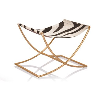 Horion Gold Leaf Base Zebra-hide Sled Bench
