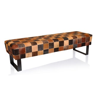 Modern Checker Cowhide Leather Bench