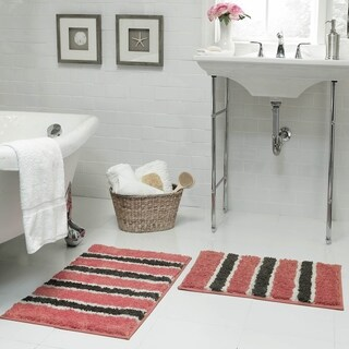 Bathtopia Ace Microfiber Stripe 18 x 30 in. Bath Rug