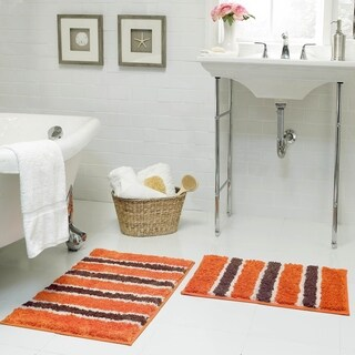 Bathtopia Ace Microfiber Stripe 16 x 24 in. Bath Rug