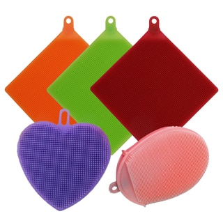 5-pk All Silicone Bacteria-free Odorless BPA-free 3 Multipurpose Mat/Scrubber, 1 Scrubber, 1 Face/Body Cleansing Glove Scrubber https://ak1.ostkcdn.com/images/products/13996273/P20619817.jpg?impolicy=medium