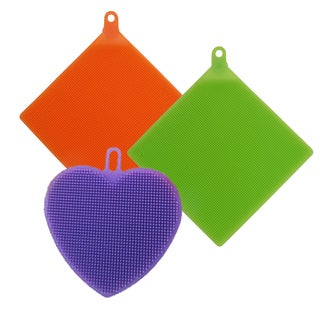 3-pk All Silicone Eco Bacteria-Free Odorless BPA-free Dishwasher-safe Easy-to-clean Mat/Scrubber