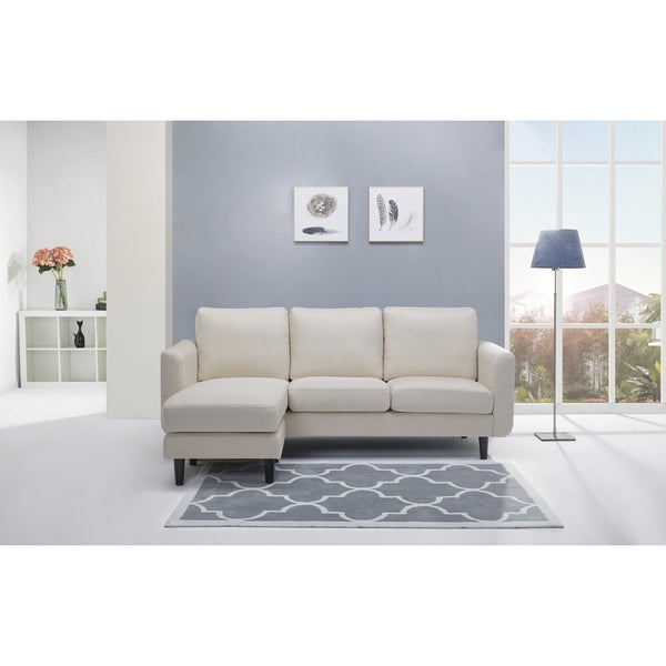 Shop Everett Beige Convertible Sectional With Reversible