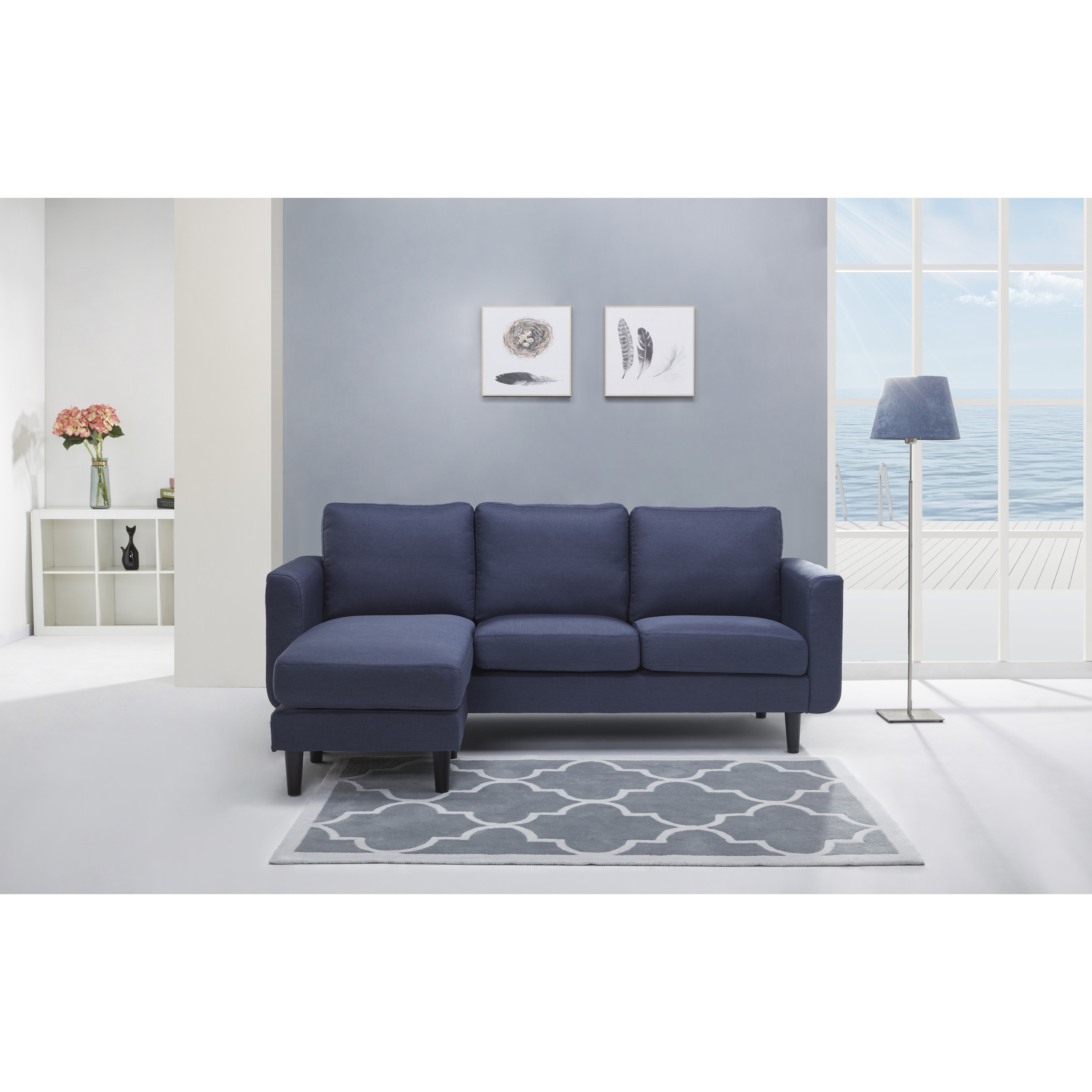 Gold Sparrow Everett Blue Convertible Sofa and Ottoman