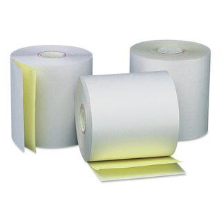 Universal One Carbonless Paper Rolls White/Canary 3-inch x 90-feet 50/Carton