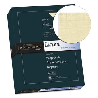 Southworth 25-percent Cotton Linen Business Paper 32-pound 8 1/2 x 11 Ivory 250 Sheets