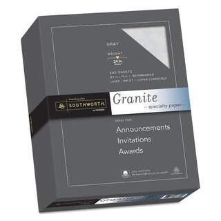 Southworth Granite Specialty Paper Grey 24-pound 8 1/2 x 11 25-percent Cotton 500 Sheets