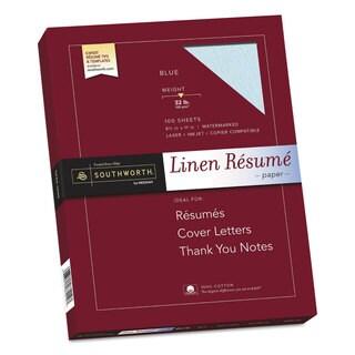 Southworth 100-percent Cotton Linen Resume Paper 32lb 8 1/2 x 11 Blue 100 Sheets