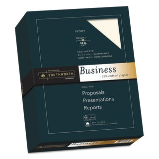 Southworth 25-percent Cotton Business Paper 24-pound 95 Bright Ivory 8 1/2 x 11 500 Sheets
