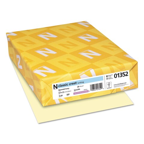 Neenah Paper CLASSIC CREST Writing Paper 24-pound 8 1/2 x 11 Baronial Ivory 500 Sheets