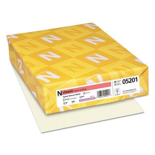 Neenah Paper CLASSIC Linen Writing Paper 24lb 8 1/2 x 11 Natural White 500 Sheets