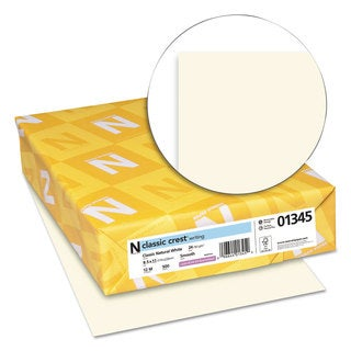 Neenah Paper CLASSIC CREST Writing Paper 24lb 8 1/2 x 11 Natural White 500 Sheets