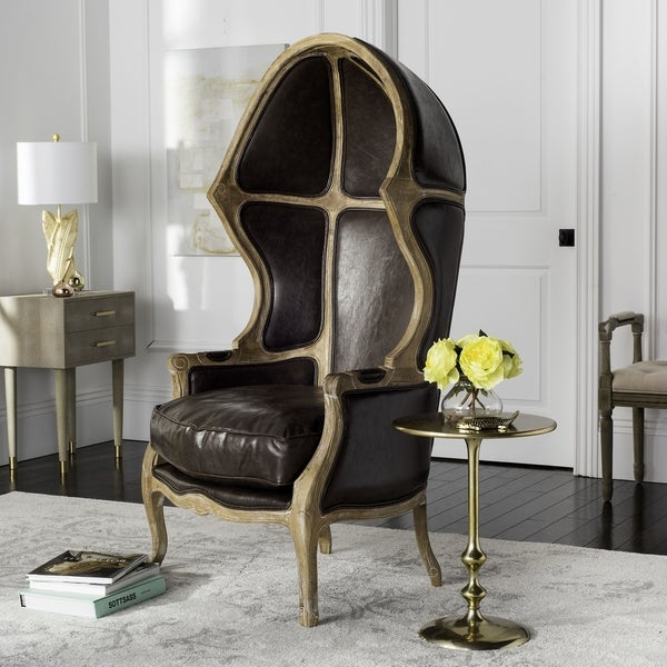 Safavieh Couture High Line Collection Sabine Brown Leather Victorian  Balloon Chair