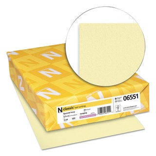 Neenah Paper CLASSIC Laid Writing Paper 24-pound 8 1/2 x 11 Baronial Ivory 500 Sheets