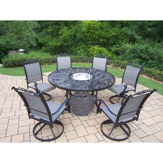Radiance 8 Pc Dining Set with Round Table, 6 Swivel Rockers and Stainless Steel Ice Bucket
