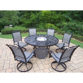 8 Pc Dining Set with Table, 6 Swivel Rockers and Ice Bucket