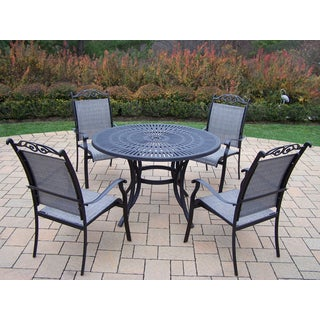 Radiance 5 Pc Dining Set with Table and 4 Stackable Sling Chairs in Black