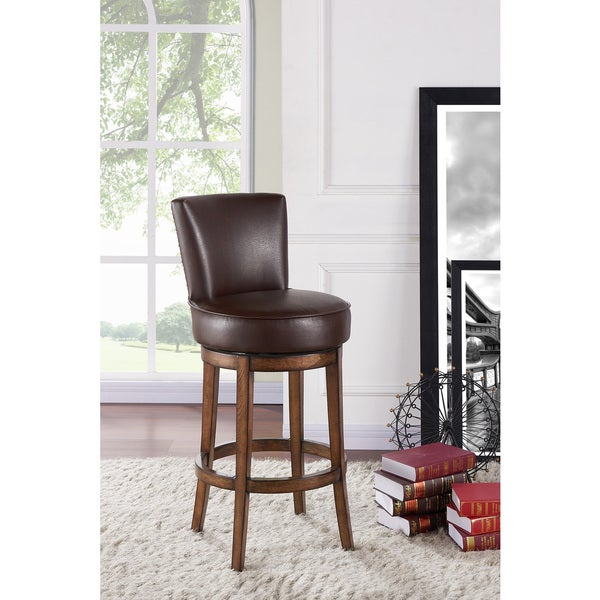 Armen Living Boston Brown Wood/Faux Leather Swivel Barstool