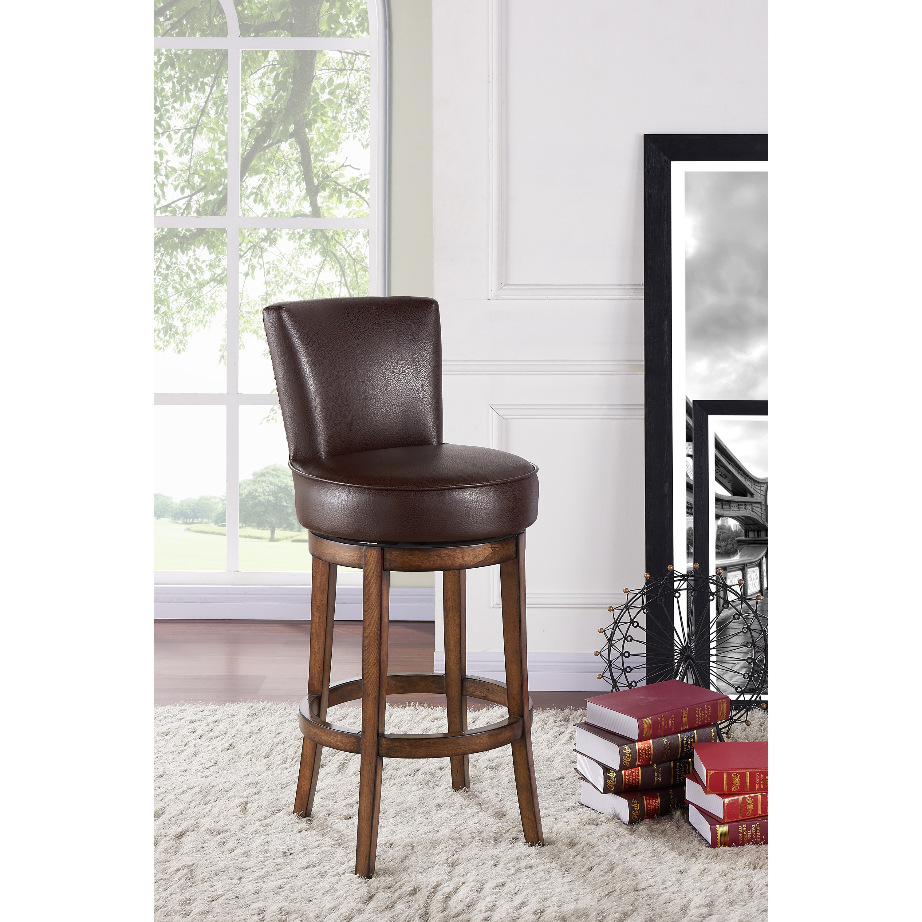 Armen Living Boston Brown Wood/Faux-leather Swivel Barstool (Bar Height - 29-32 in.)