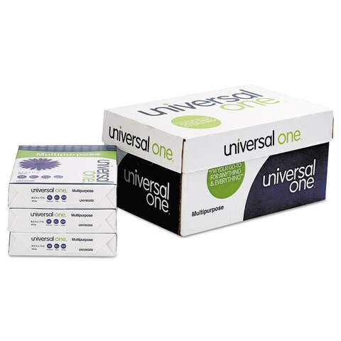 Universal One Multipurpose Paper 98 Brightness 20-pound 8-1/2 x 11 Bright White 5000 Shts/Cartonn