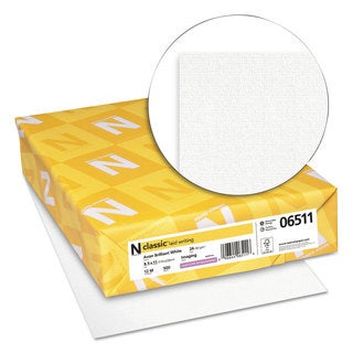 Neenah Paper CLASSIC Laid Writing Paper 24-pound 93 Bright 8 1/2 x 11 Avon White 500 Sheets