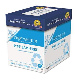 Hammermill Great White Recycled Copy Paper 92 Brightness 20-pound 8-1/2 x 11 2500 Shts/Cartonn