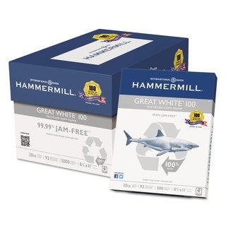 Hammermill Great White 100 Recycled Copy Paper 20-pound 8-1/2 x 11 White 5,000 Sheet/Carton