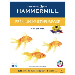 Hammermill Premium Multipurpose Paper 20-lb. 8-1/2 x 11 White 2500/Carton
