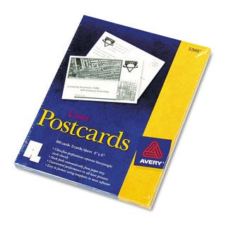Avery Postcards for Laser Printers 4 x 6 Uncoated White 2/Sheet 100/Box