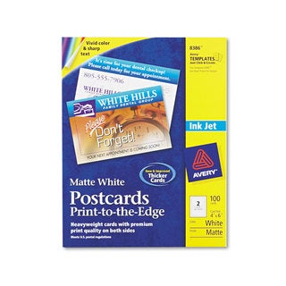 Avery Postcards Inkjet 4 x 6 2 Cards/Sheet White 100 Cards/Box
