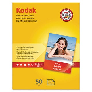 Kodak Premium Photo Paper 8.5 mil Glossy 8 1/2 x 11 50 Sheets/Pack