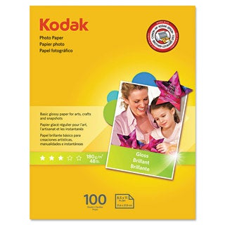 Kodak Photo Paper 6.5 mil Glossy 8-1/2 x 11 100 Sheets/Pack