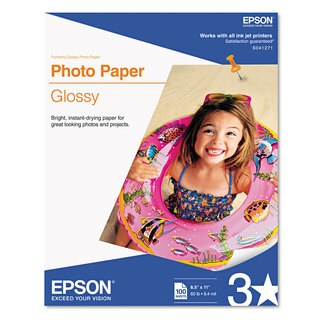 Epson Glossy Photo Paper 52 -pound Glossy 8-1/2 x 11 100 Sheets/Pack