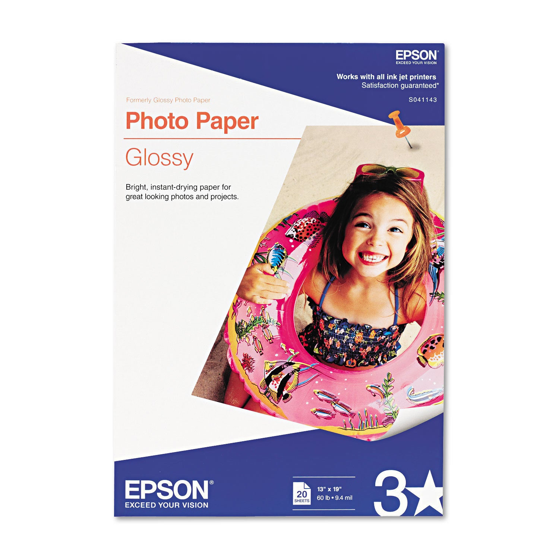 Epson Glossy Photo Paper 60-pound Glossy 13 x 19 20 Sheet...
