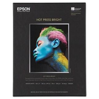 Epson Hot Press Bright Fine Art Paper 8-1/2 x 11 Bright White 25 Sheets