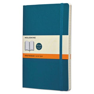 Moleskine Classic Softcover Notebook Ruled 8 1/4 x 5 Underwater Blue Cover 192 Sheets