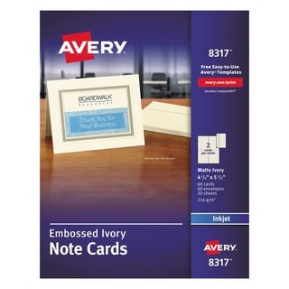 Avery Embossed Note Cards Inkjet 4 1/4 x 5 1/2 Matte Ivory 60/Pack with Envelopes